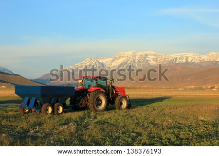 Farm equipment in rural Utah, USA. - stock photo