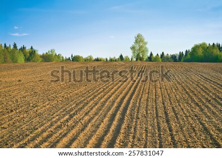 Farm field in spring - stock photo
