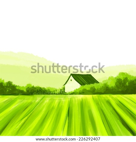 Farm fresh.  Organic, eco, bio living concept in painted illustration with copy space. - stock photo