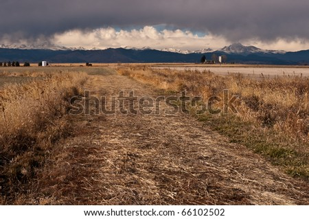 Farm House and Longs Peak - stock photo
