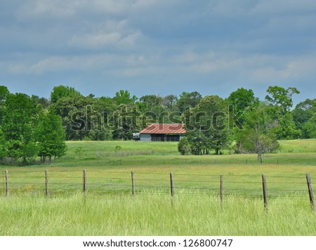 Farm House in Pasture - stock photo