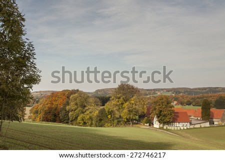 Farm in Borgloh, Osnabrueck country, Lower Saxony, Germany, Europe - stock photo