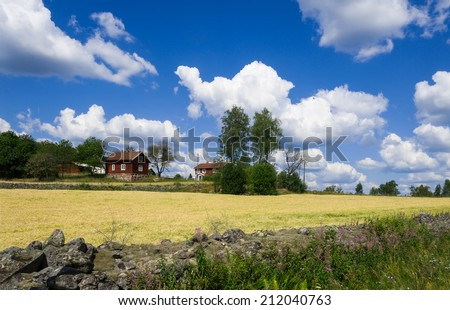Farm in southern Sweden, Smaland, near Ingatorp in summer - stock photo