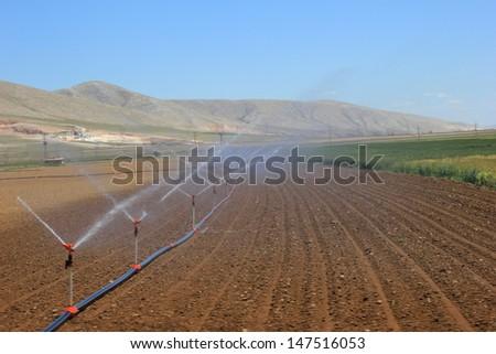 farm irrigation system - stock photo