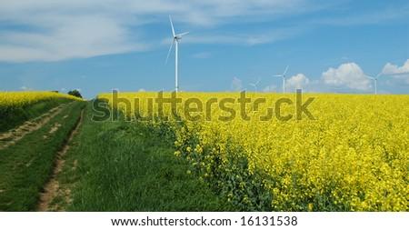 farm of winturbines close to rapeseed field France - stock photo