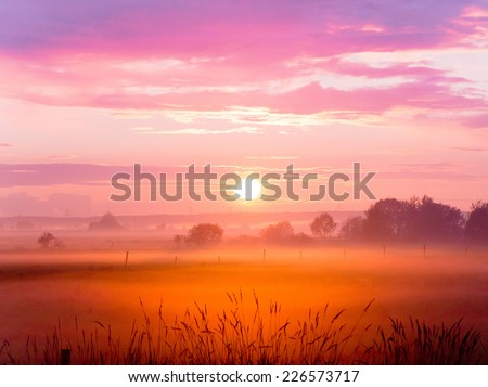 Farm Pasture Day Ends  - stock photo