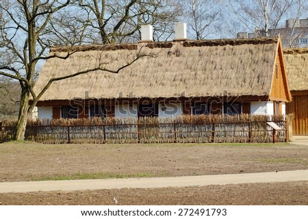 Farm, wooden and brick buildings of the area of the museum - reconstruction of IXX century  - stock photo