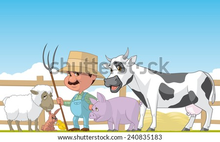 Farmer and animals - stock photo