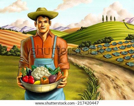 Farmer holding a basket full of fresh vegetables. Hand painted digital illustration. - stock photo
