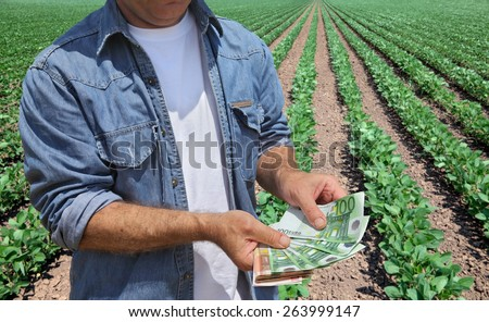 Farmer holding Euro banknote with green cultivated soy field in background - stock photo