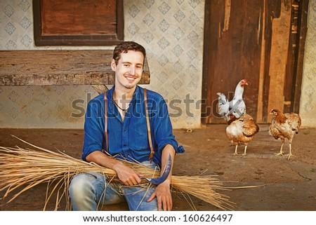 farmer near his house - stock photo