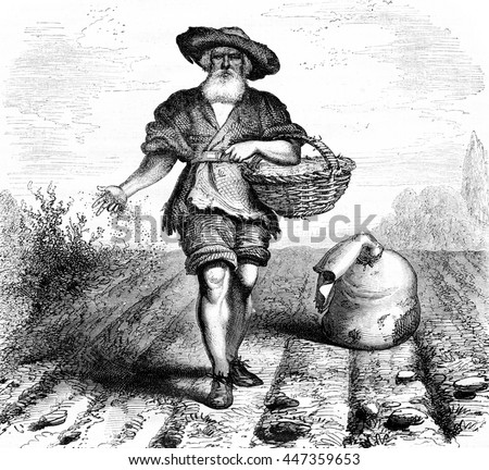 Farmer scattering seeds on a field. Engraving by J.M. Metelli. Drawing by Hernault. From Magasin Pittoresque, vintage engraving, 1867. - stock photo