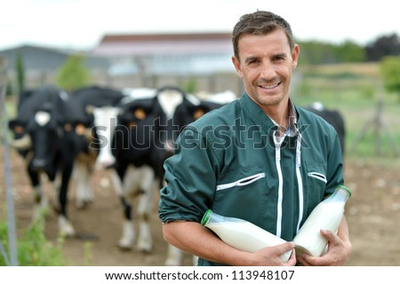 Farmer standing in front of cow herd with bottles of milk - stock photo