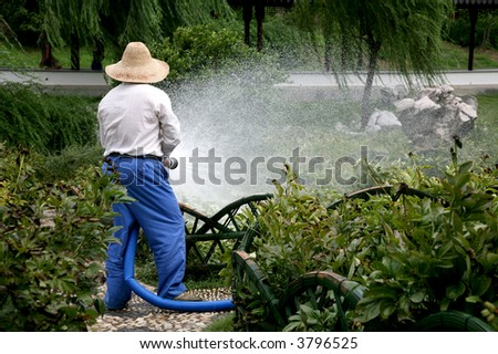 farmer watering crops with large blue hose - stock photo