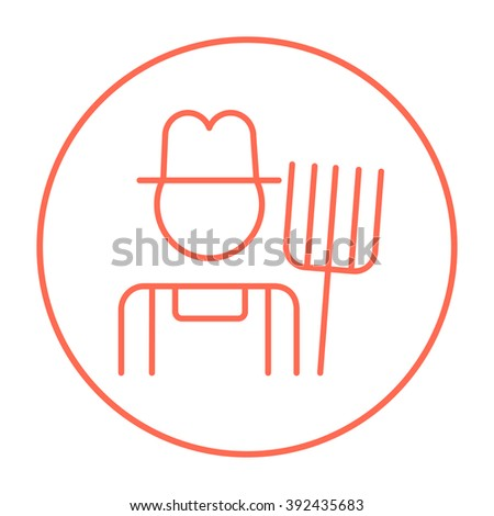 Farmer with pitchfork line icon. - stock photo