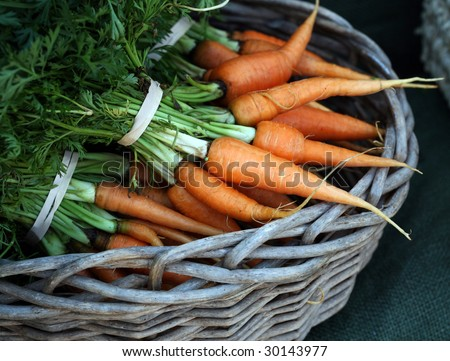 Farmers market: carrots - stock photo