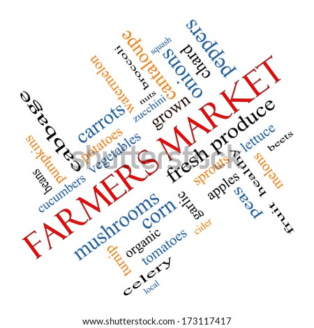 Farmers Market Word Cloud Concept angled with great terms such as fresh, produce, local and more. - stock photo
