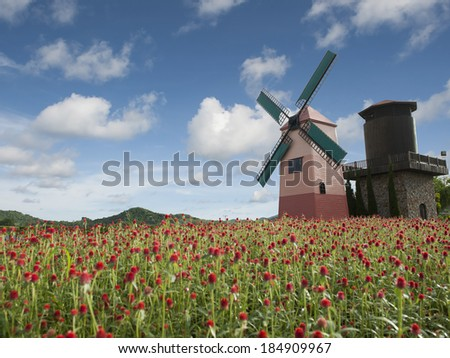 farmhouse above the flower field with a windmill - stock photo