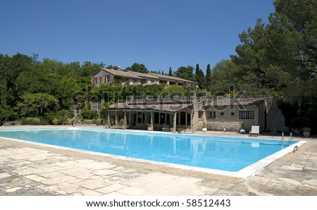 Farmhouse in Provence with swimming pool - stock photo