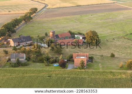 Farmhouses and fields in the Lower Rhine Region of Germany - Schermbeck, North Rhine-Westfalia, Germany, Europe - stock photo