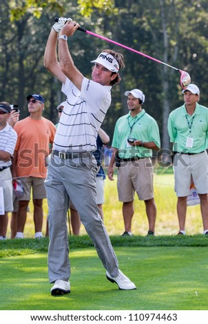 FARMINGDALE, NY - AUGUST 22: Bubba Watson hits a drive at Bethpage Black during the Barclays on August 22, 2012 in Farmingdale, NY. - stock photo