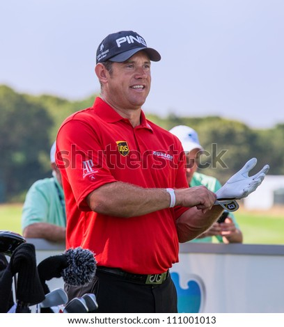 FARMINGDALE, NY - AUGUST 22: Lee Westwood at Bethpage Black during the Barclays on August 22, 2012 in Farmingdale, NY. - stock photo