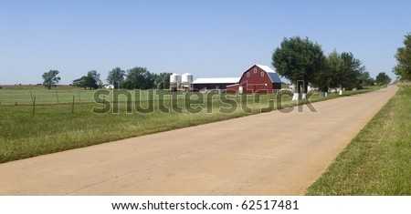Farmland along Historic Route 66 in the state of Oklahoma - stock photo