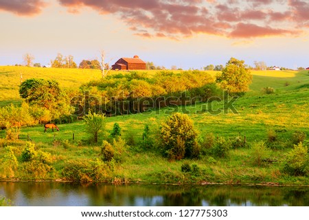 Farmland landscape in Central Kentucky - stock photo