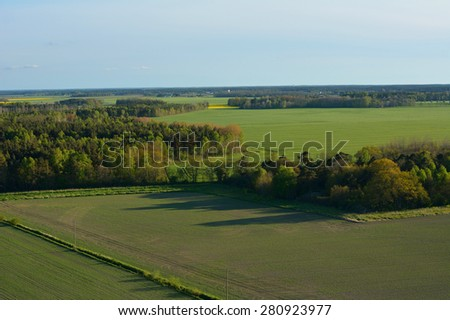 Farmland on the island of Gotland in Sweden, Aerial view - stock photo