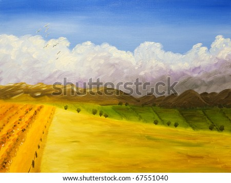 Farmland - original acrylic painting, painted on farmland in Idaho. I'm the author of this painting. - stock photo