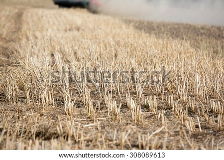 Farmland with stubble - stock photo