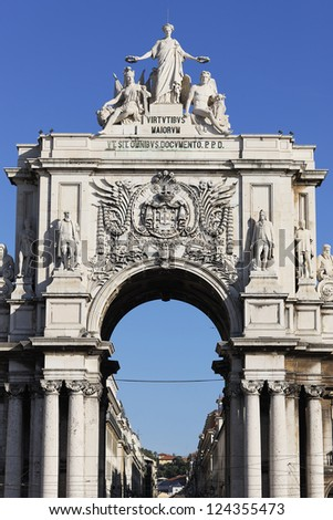farmous arch at commerce square in Lisbon, Portugal - stock photo