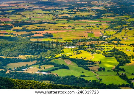Farms and homes in the Shenandoah Valley, seen from Shenandoah National Park, Virginia. - stock photo