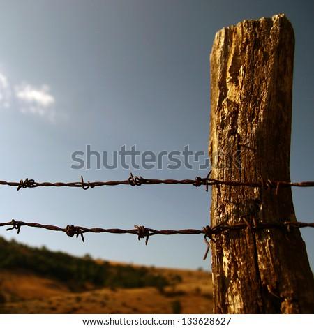 farms border and sky - stock photo