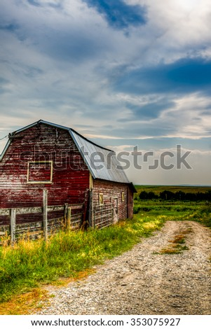 Farmstead in rural Southern Alberta Canada - stock photo