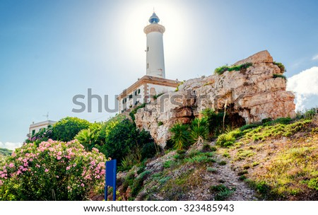 Faro de Botafoch lighthouse in the port of Ibiza town, Balearic Islands. Spain - stock photo