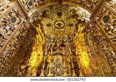 FARO, PORTUGAL - JUNE 2015: Interior architectural detail of Cathedarl of Se, 15 June 2015 in Faro, Portugal, Europe - stock photo