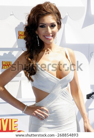 Farrah Abraham at the 2015 MTV Movie Awards held at the Nokia Theatre L.A. Live in Los Angeles, USA on April 12, 2015.  - stock photo