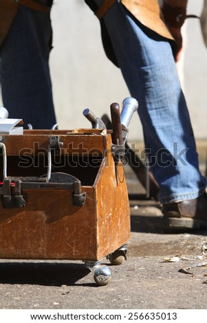 Farrier working tools in the box - stock photo