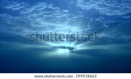 Fascinating dawn through the clouds - stock photo
