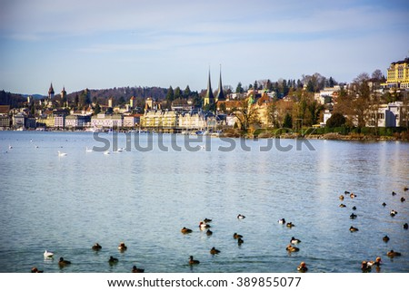 Fascinating view of Lucerne Lake in Switzerland - stock photo