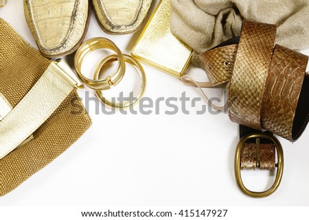 fashion accessories for women - handbag, scarf, belt and jewelry - stock photo