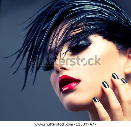 Fashion Art Girl Portrait. Punk Style - stock photo