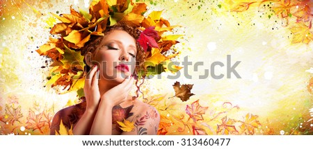Fashion Art in Autumn - Artistic Makeup With Hairstyle Nature  - stock photo