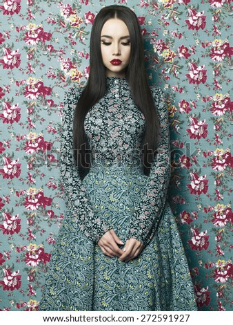 Fashion art photo of beautiful elegant lady on floral background. Spring/Summer - stock photo