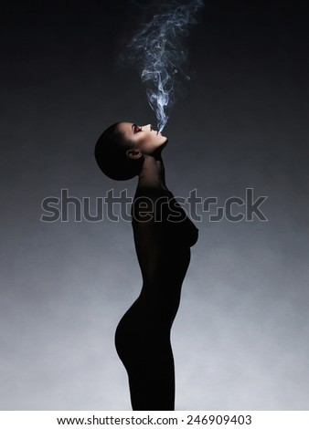 Fashion art photo of  beautiful smokes lady with gorgeous body  - stock photo