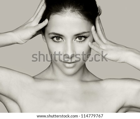 Fashion art portrait of sexy woman with hands on head looking isolated - stock photo