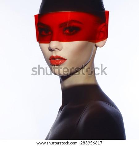 Fashion art studio photo of beautiful elegant futuristic lady - stock photo