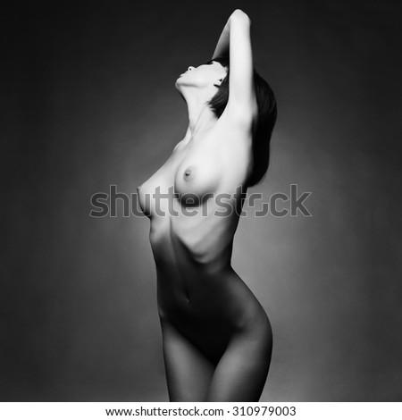 Fashion art studio photo of elegant naked lady - stock photo