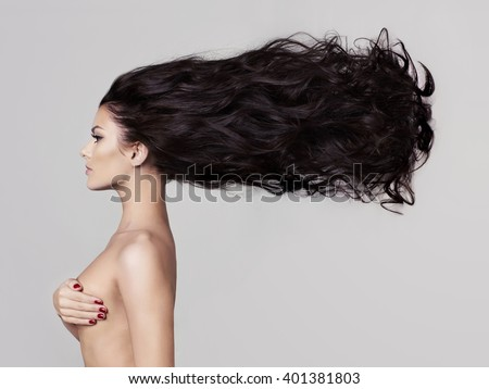 Fashion art studio photo of elegant naked lady - stock photo